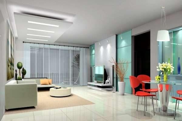 светлый интерьер гостиной в стиле хай тек