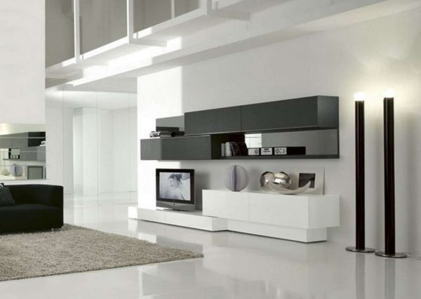 белый в интерьере гостиной в стиле хай тек