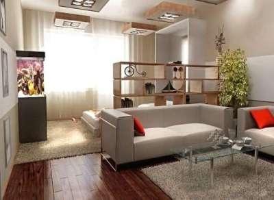 Разделение комнаты на гостиную и спальню с помощью перегородки