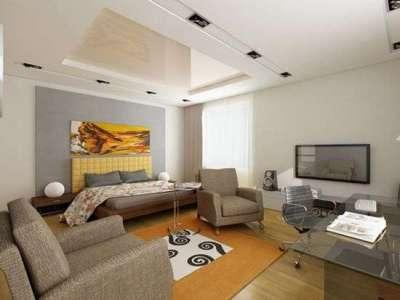 многоуровневый потолок для зонирования кухни гостиной