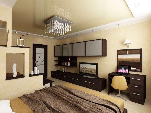 дизайн спальни и гостиной в одной комнате с телевизором на модульной стенке