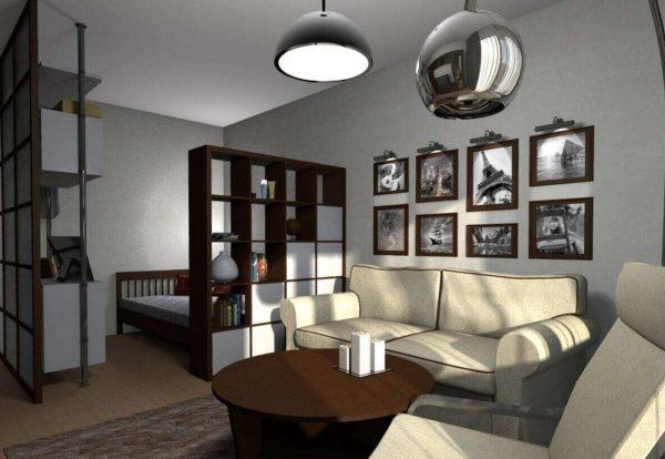 спальня с гостиной с перегородкой шкафом