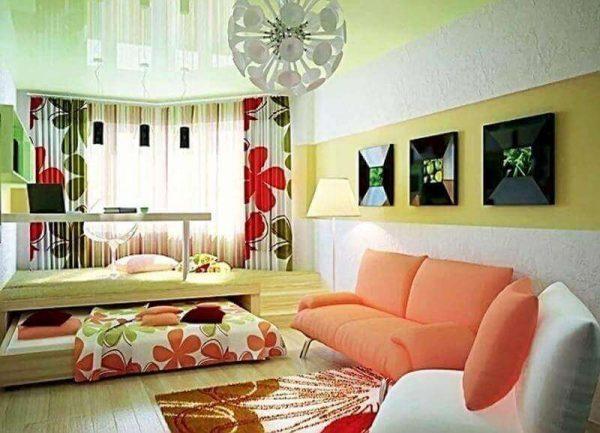спальня с гостиной и видвижной кроватью