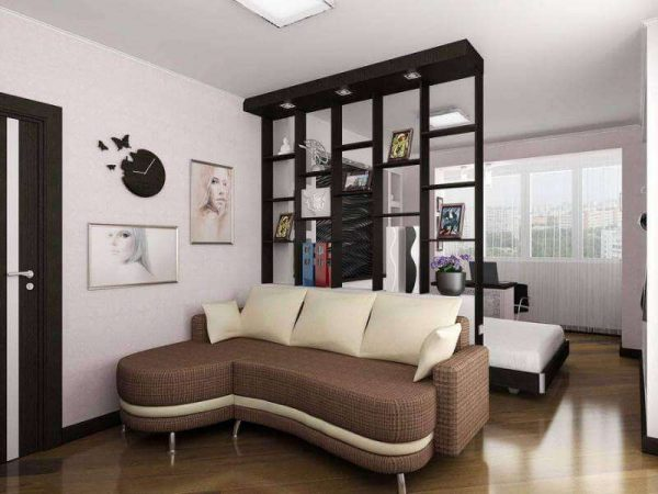 спальня с гостиной с перегородкой с открытыми полками