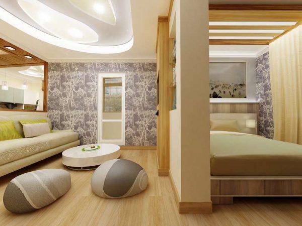 совмещённая гостиная со спальней с перегородкой из гипсокартона