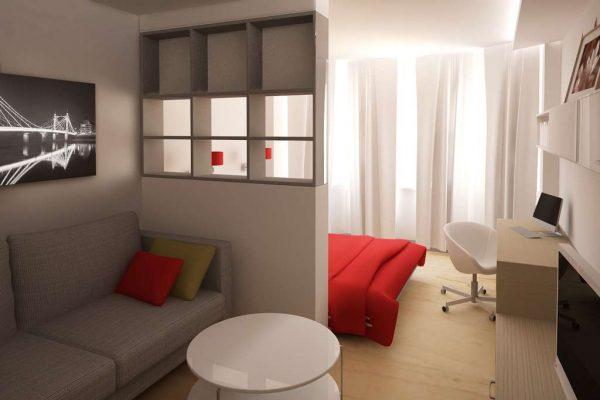 совмещённая гостиная со спальней с пергородкой