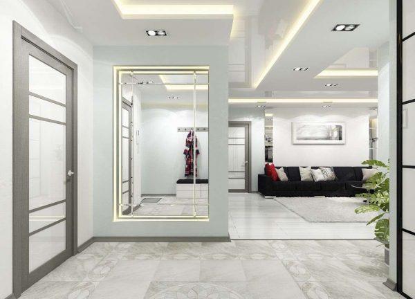 зонирование коридора в квартире студии