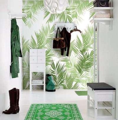 зелёные обои в коридоре однокомнатной квартиры