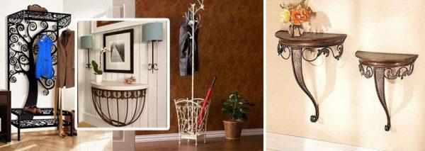 кованая мебель в прихожей смотрится очень оригинально и стильно