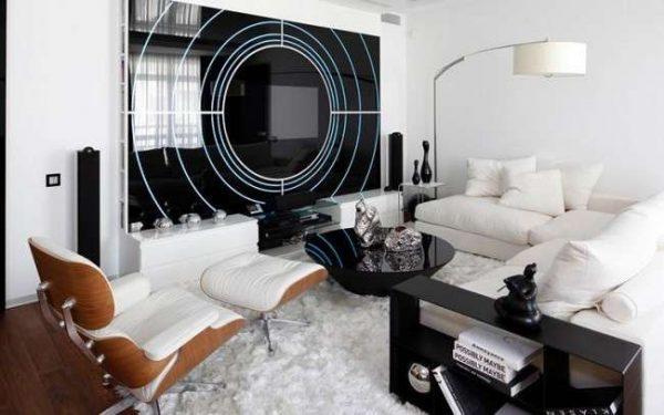 современная мебель в гостиной хай тек