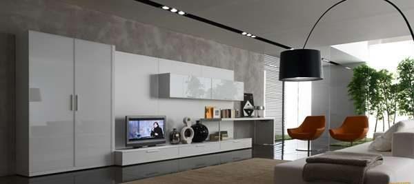 современная мебель хай тек в гостиной