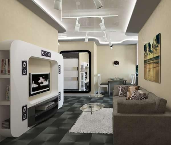современная мебель в гостиной в стиле хай тек