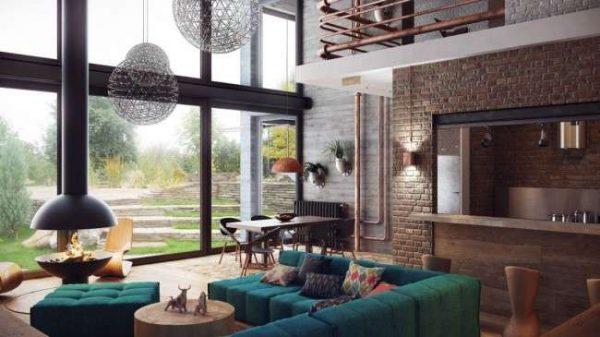 мебель бирюзового цвета в просторной гостиной