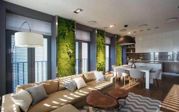 мебель в эко стиле в зале