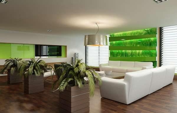 белая мебель в современной гостиной в эко стиле