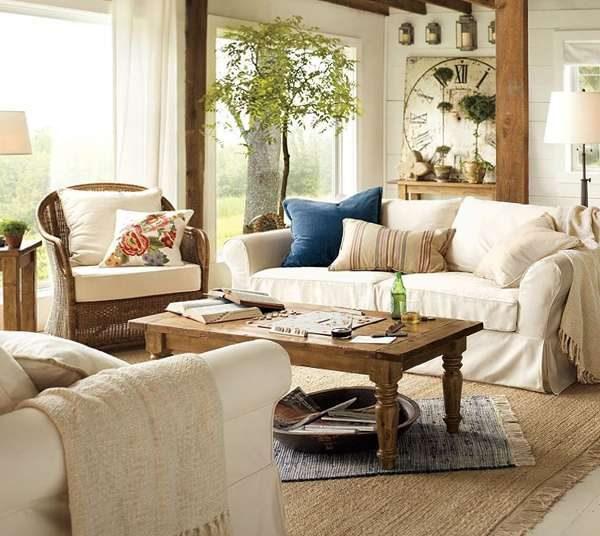 мебель в современной гостиной в стиле прованс