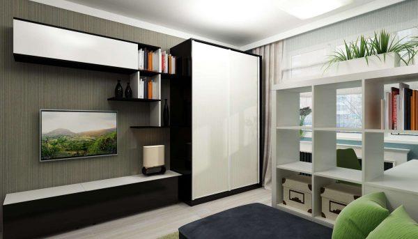 телевизор со шкафом в интерьере гостиной