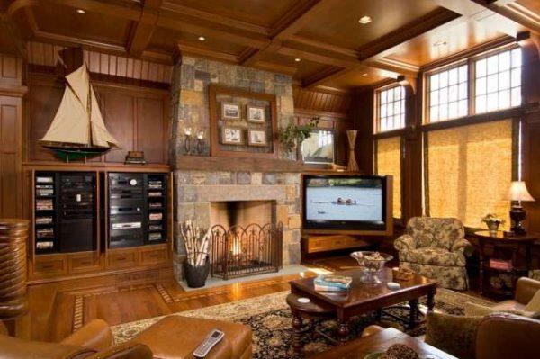 деревянная мебель под телевизор в гостиной