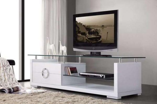 белая тумба под телевизор в гостиной