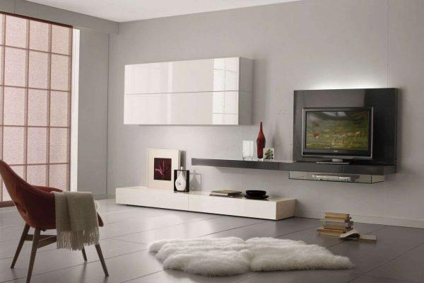модульная стенка с телевизором в гостиной