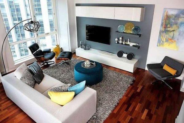 белая мебель под телевизор в гостиной