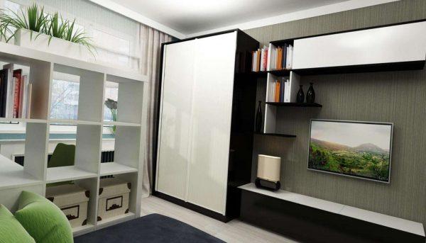 телевизор со шкафом купе в гостиной