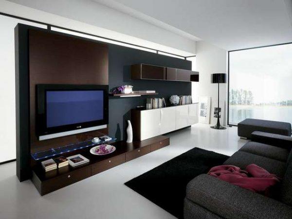 телевизор в модульной стенке гостиной