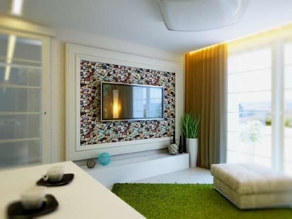 декор стены и тумба под телевизор в гостиной