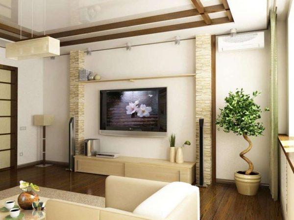 низкая тумба под телевизор в гостиной