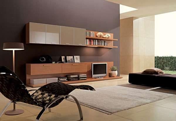 стенка с телевизором в интерьере гостиной