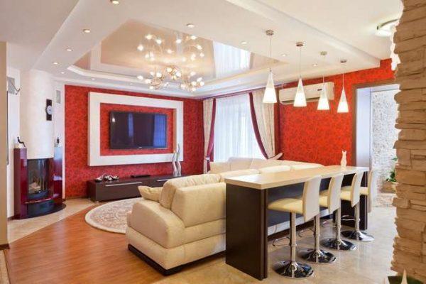 многоуровневый натяжной потолок в гостиной с зонированием