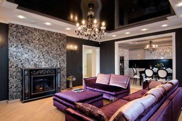чёрный натяжной потолок для зала