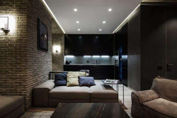 натяжной потолок белого цвета в гостиной