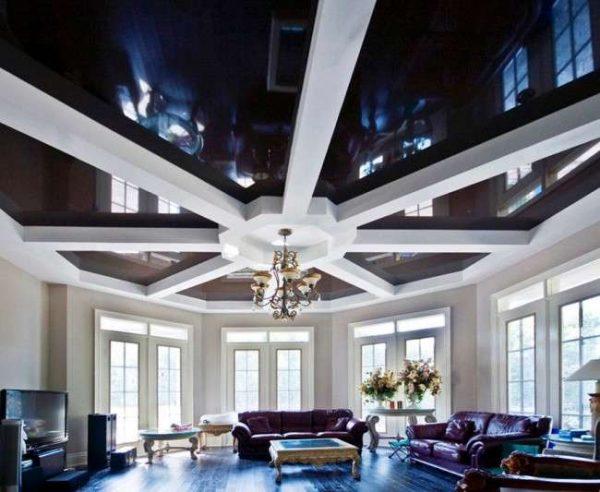 многоуровневый чёрный натяжной потолок для гостиной