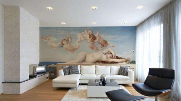 белый натяжной потолок в гостиной