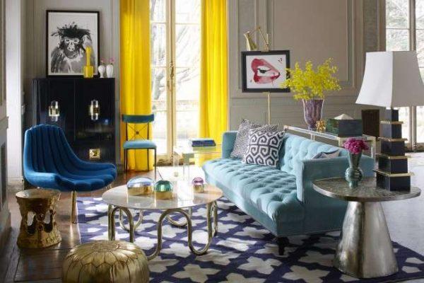 жёлтые шторы в современной гостиной