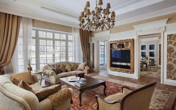 классическое сочетание штор и тюли в гостиной