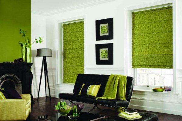 зелёные рулонный шторы в интерьере гостиной