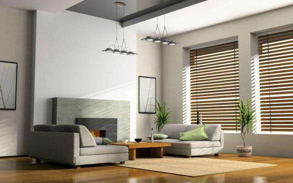 жалюзи шторы в интерьере гостиной