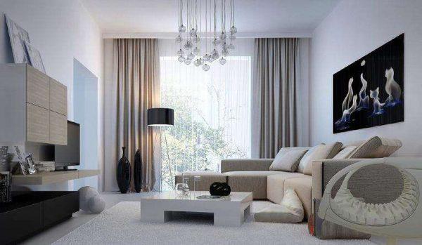 шторы пастельных оттенков в интерьере гостиной