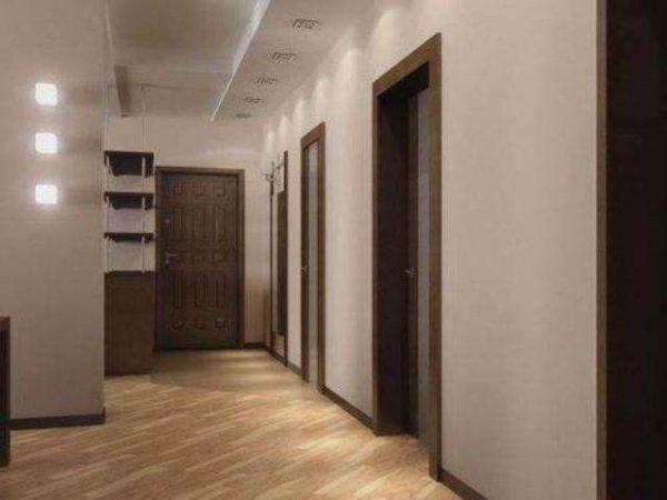 белый многоуровневый потолок из гипсокартона в прихожей