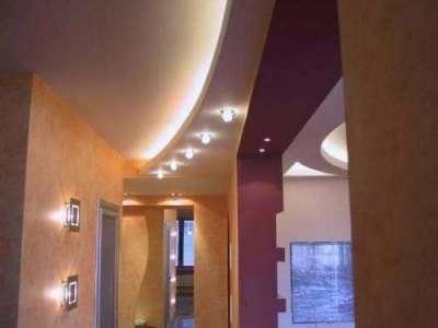 многоуровневый потолок из гипсокартона в прихожей