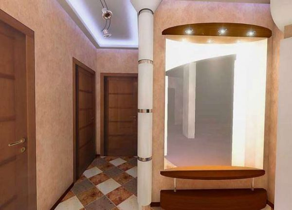 встроенное освещение в потолке коридора