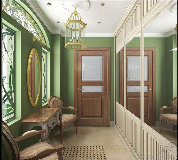 в прихожей в английском стиле зелёные стены