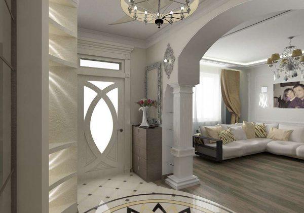 белая арка в прихожей в квартире