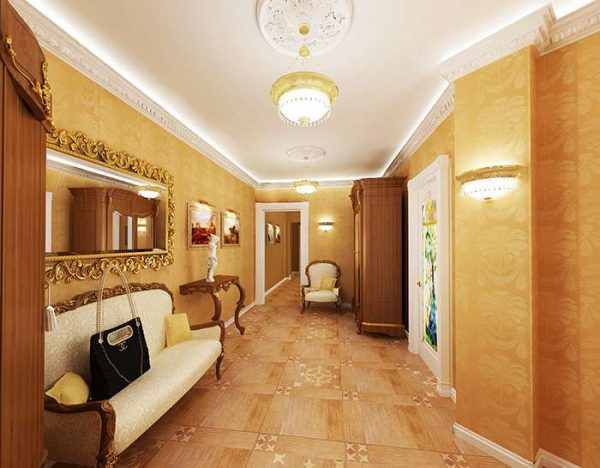 золотой цвет в в прихожей в стиле барокко