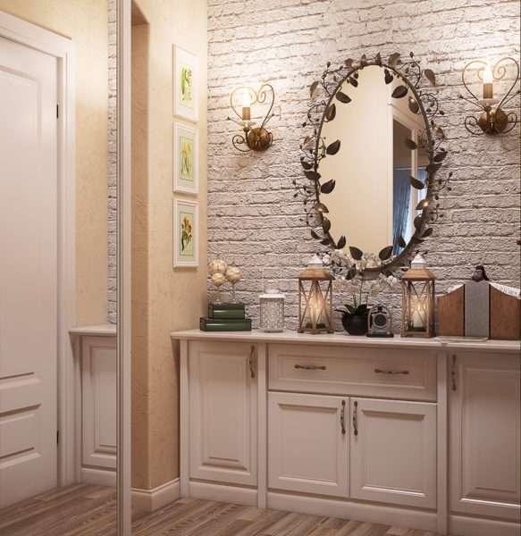 зеркало и декор в прихожей в стиле прованс