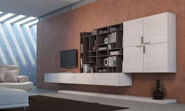 навесной шкаф в гостиной в современном стиле