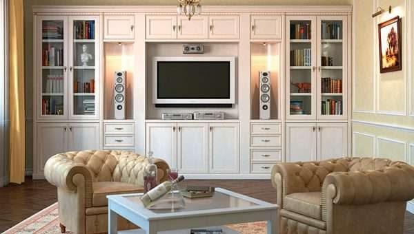 шкаф в гостиной в классическом стиле
