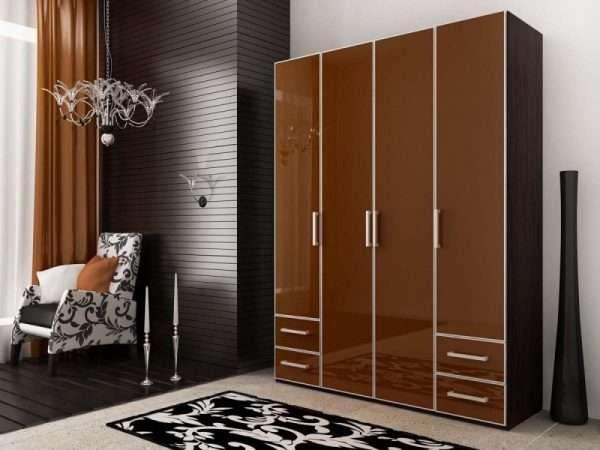 коричневый шкаф для гостиной в современном стиле